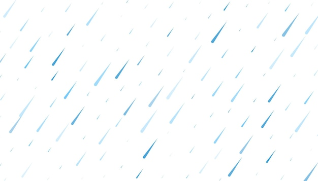 Rain with falling water drops on white background