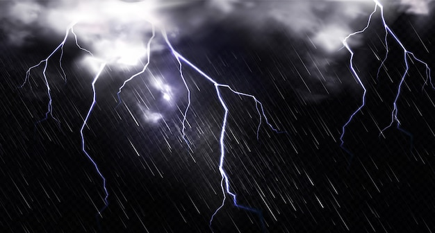 Rain with lightning and clouds in sky at night