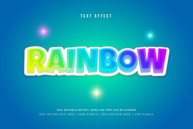 Rainbow 3d text effect on tosca background
