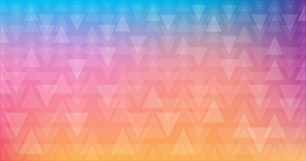 Rainbow abstract decorative geometric pattern of translucent triangles of different sizes