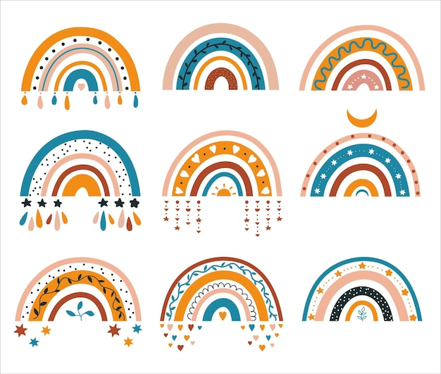 Rainbow  abstract graphics childrens illustration in boho style