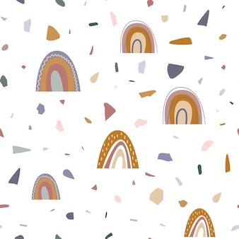 保育園のデザインの壁紙や子供のためのテキスタイルのための虹の抽象的なシームレスパターン
