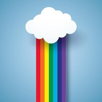 虹と雲、紙のアートスタイル