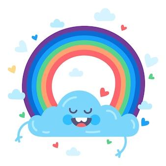 무지개와 하늘에 귀여운 구름 재미와 웃는 다채로운 평면 그림