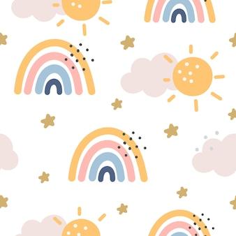 紫色の背景に虹と星のシームレスなパターン。スカンジナビア風