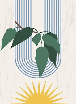 무지개 아치와 나뭇잎이 있는 일출 나뭇가지