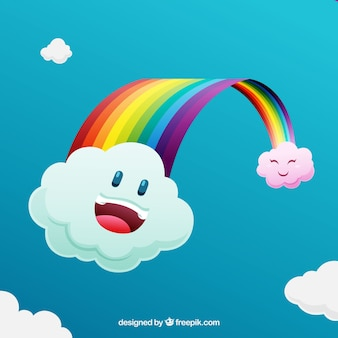 Rainbow background with cartoon clouds in the sky