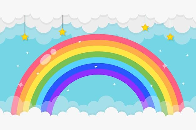 Радужный фон с облаками и звездами