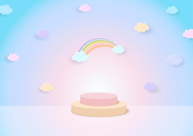 Rainbow background with display stand studio
