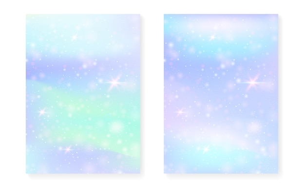 Rainbow background with kawaii princess gradient. magic hologram.