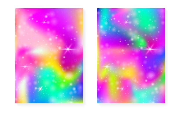 Rainbow background with kawaii princess gradient. magic unicorn hologram. holographic fairy set. bright fantasy cover. rainbow background with sparkles and stars for cute girl party invitation.