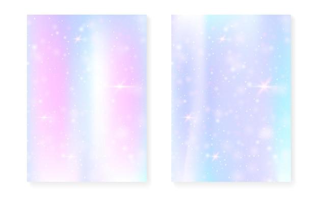 귀여운 공주 그라데이션으로 무지개 배경입니다. 매직 유니콘 홀로그램. 홀로그램 요정 세트입니다. 형광 판타지 커버. 귀여운 소녀 파티 초대장을 위한 반짝임과 별이 있는 무지개 배경.