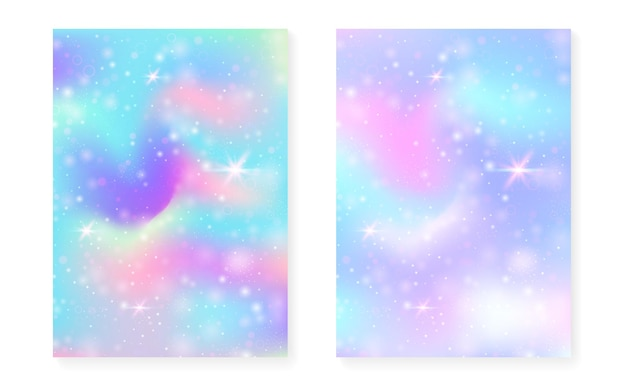 Rainbow background with kawaii princess gradient. magic unicorn hologram. holographic fairy set. stylish fantasy cover. rainbow background with sparkles and stars for cute girl party invitation.