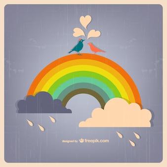 Rainbow and birds in love