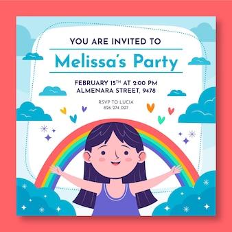 Modello di invito compleanno arcobaleno
