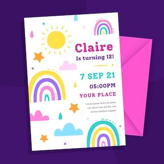 Шаблон приглашения на день рождения радуги