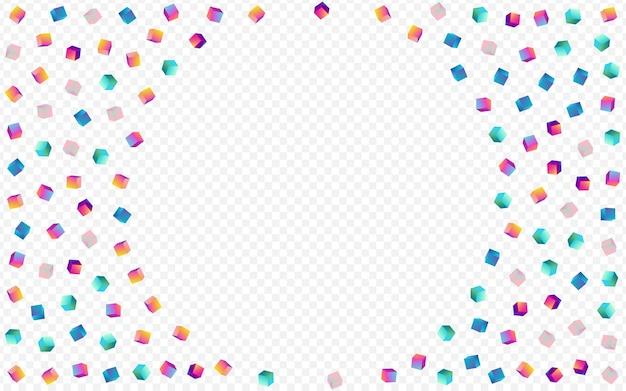 レインボーボックスベクトル透明な背景。グラデーションの抽象的なひし形の画像。幾何学的要素カバー。明るい紙吹雪のグラフィックパターン。