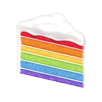 Rainbow cake slice on white background.