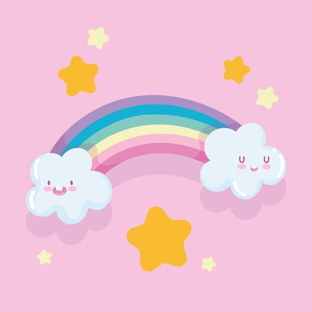 虹漫画雲ゴールドスター夢ファンタジー装飾ベクトル図