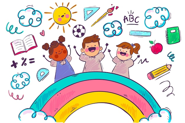 Rainbow and children school background