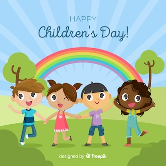 Rainbow childrens day background