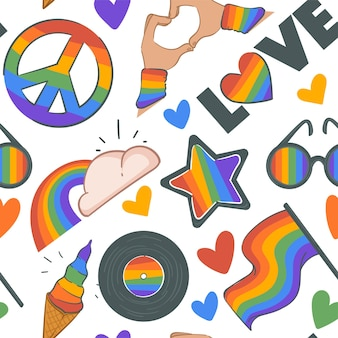 Rainbow and cloud peace sign and love pattern