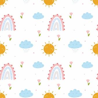 무지개, 비 구름. 아동복 재봉 및 포장지에 인쇄하기 위한 원활한 패턴입니다. 보육원을 위한 끝없는 월페이퍼. 아기 만화 그림입니다.