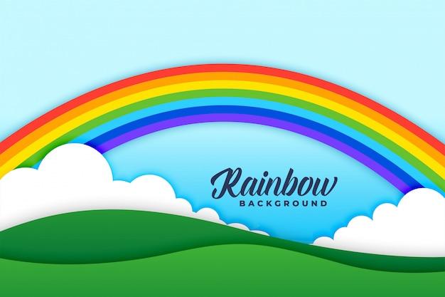 虹の雲と牧草地の背景シーン