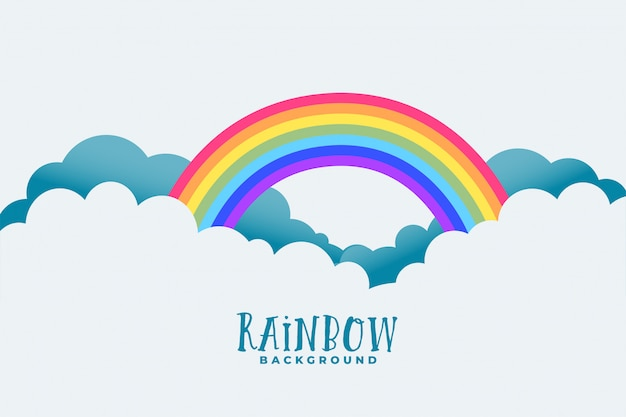 Rainbow above clouds background