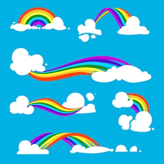 Rainbow and clouds .  illustrations. set of rainbow with cloud in blue sky