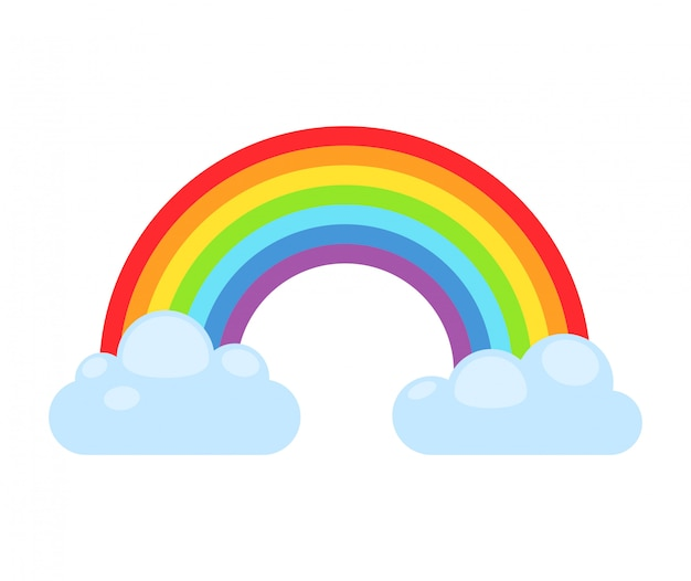 Rainbow and clouds isolated. nature sign cloud rainbow spectrum. weather curve rainbow, graphic abstract symbol.