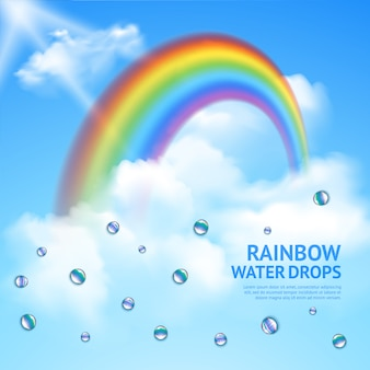 Rainbow in clouds realistic poster