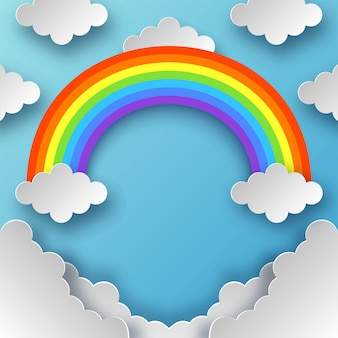 Rainbow and clouds with papercut style on blue sky background