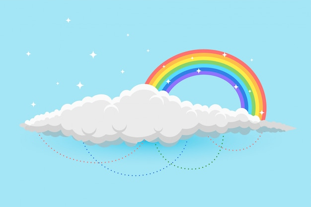 Rainbow and clous in sky background with stars