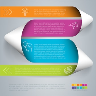 Rainbow color infographics step by step paper folded ribbon  template.