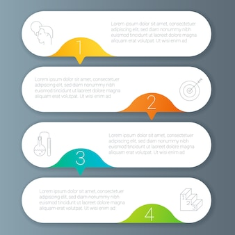 Rainbow color infographics step by step  template.