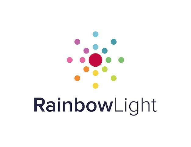 무지개 색 빛 단순하고 매끄러운 창조적 인 기하학적 현대 로고 디자인