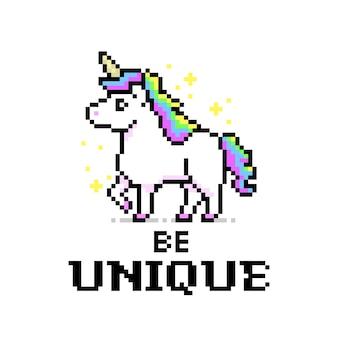 Rainbow color unicorn pixel art game style Premium Vector
