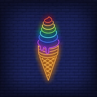 Rainbow colored ice cream neon sign
