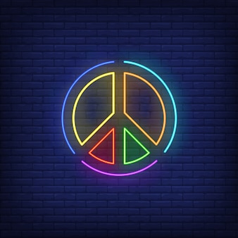 Rainbow colored peace emblem neon sign