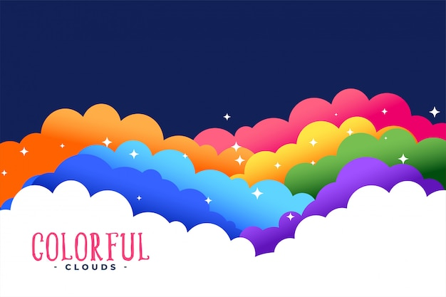 Rainbow colors clouds with stars background