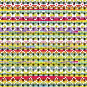 クリスマスの幾何学模様を編む虹色