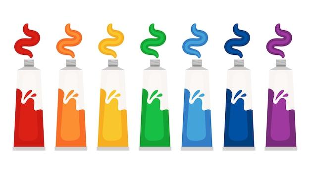 Краски для тюбиков цвета радуги. красочные масляные или акварельные краски векторные иллюстрации Premium векторы