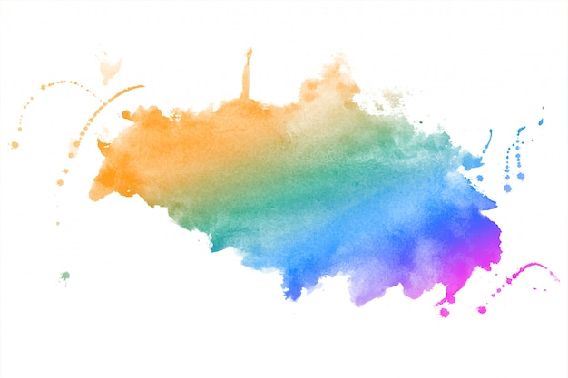 Rainbow colors watercolor stain texture background design