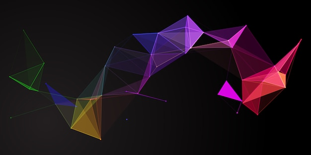 Rainbow coloured abstract low poly banner design