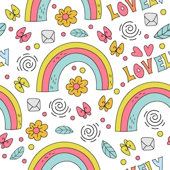 Rainbow comic cartoon holiday seamless pattern illustration