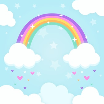 Rainbow concept in flat design