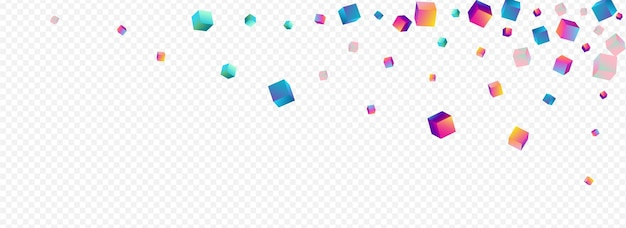 Rainbow cube vector panoramic transparent background. bright perspective rhombus pattern. shiny element image. gradient confetti business wallpaper.