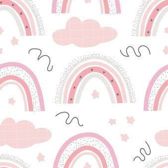 レインボーキュートなパターンデジタルペーパー布を包むテキスタイルの壁紙のための創造的な幼稚なプリント