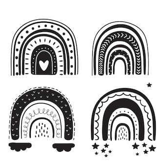 Rainbow design black silhouette. tribal set